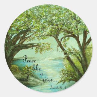 Peace  Like a River Classic Round Sticker