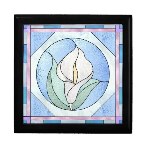 Peace Lily Stained Glass Look Gift Box