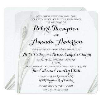 Peace Lily Wedding Invitation White on White