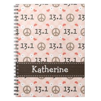 Peace Love 13.1 Half Marathon Spiral Notebook Jour
