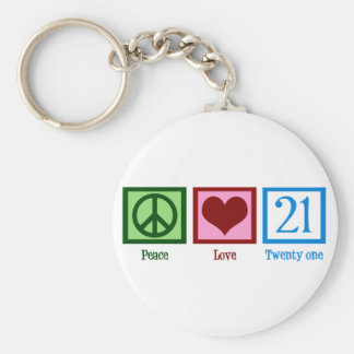 Peace Love 21 Basic Round Button Key Ring
