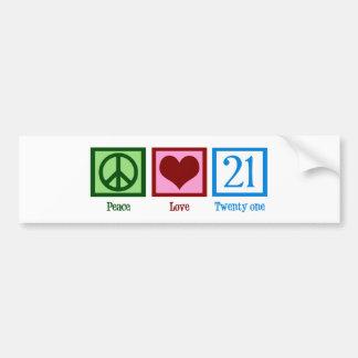 Peace Love 21 Car Bumper Sticker