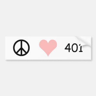 peace, love, 401 bumper sticker