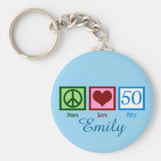 Peace Love 50th Birthday Custom Key Ring