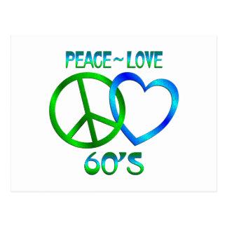 Peace - Love 60's Postcard