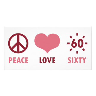 Peace Love 60th Birthday Gifts Personalised Photo Card