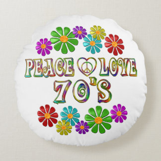 Peace Love 70s Round Cushion