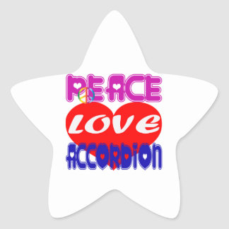 Peace Love accordion Star Sticker