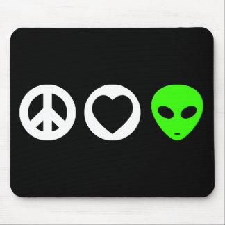 Peace Love Alien Mouse Pad