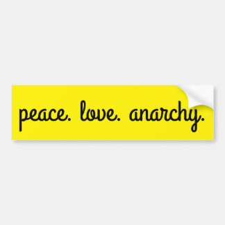 Peace Love Anarchy: Typography Black and Yellow Bumper Sticker