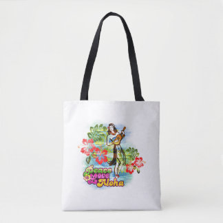 Peace, Love and Aloha Hawaiian Lifestyle Tote Bag
