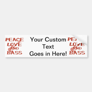 peace love and bass bernice red w guitar bumper sticker