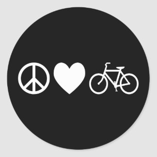 Peace Love and Bicycles Round Sticker