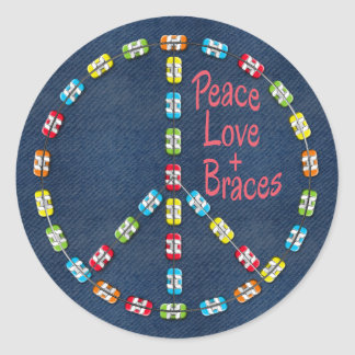 Peace, Love and Braces Colorful Braces on Denim Round Sticker
