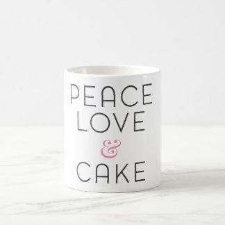peace love and cake mug