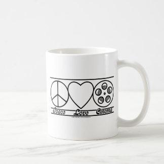 Peace Love and Cinema Basic White Mug