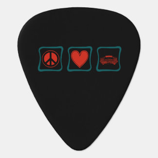 Peace Love and Classic Cars Guitar Pick