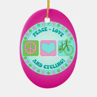 Peace Love and Cycling Ceramic Oval Decoration
