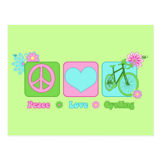Peace Love and Cycling Postcard