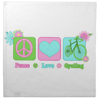 Peace Love and Cycling Printed Napkin