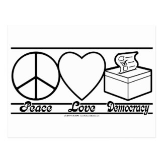 Peace Love and Democracy Post Card