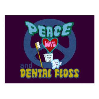 Peace Love and Dental Floss Postcard