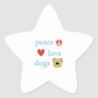Peace Love and Dogs Star Sticker