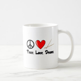 Peace, Love, and Drums Basic White Mug