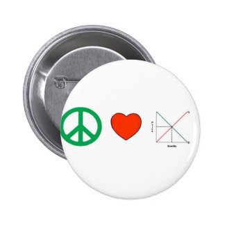 Peace Love and Economics 6 Cm Round Badge