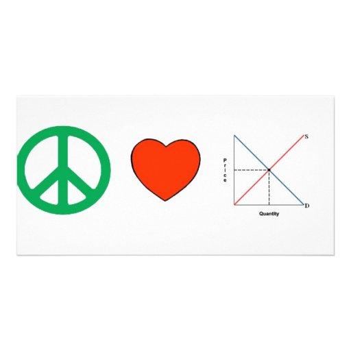 Peace Love and Economics Photo Card Template