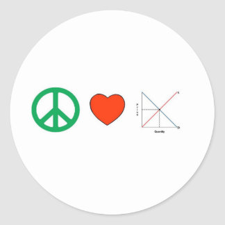 Peace Love and Economics Round Sticker