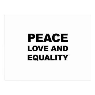 PEACE, LOVE AND EQUALITY POSTCARD
