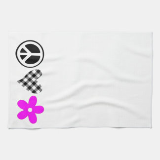 Peace Love and Flowers Kitchen Towels