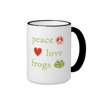 Peace Love and Frogs Mug