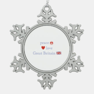 Peace Love and Great Britain Snowflake Pewter Christmas Ornament