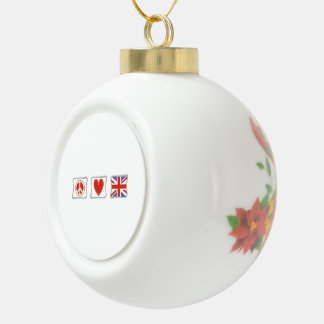 Peace Love and Great Britain Squares Ceramic Ball Christmas Ornament