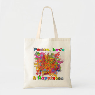 Peace, Love and Happiness Budget Tote Bag