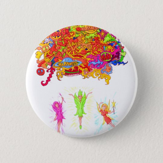 Peace, Love and Happiness Fairies. 6 Cm Round Badge