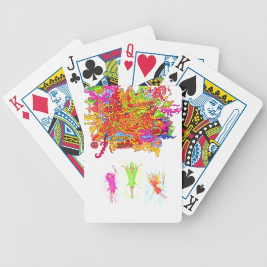 Peace, Love and Happiness Fairies. Bicycle Playing Cards