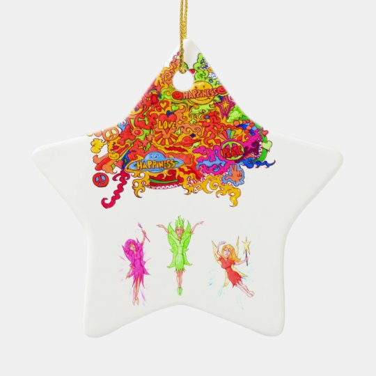 Peace, Love and Happiness Fairies. Ceramic Ornament