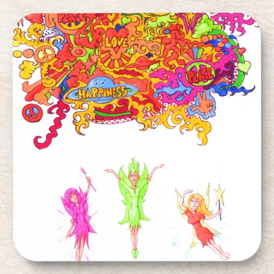 Peace, Love and Happiness Fairies. Coaster