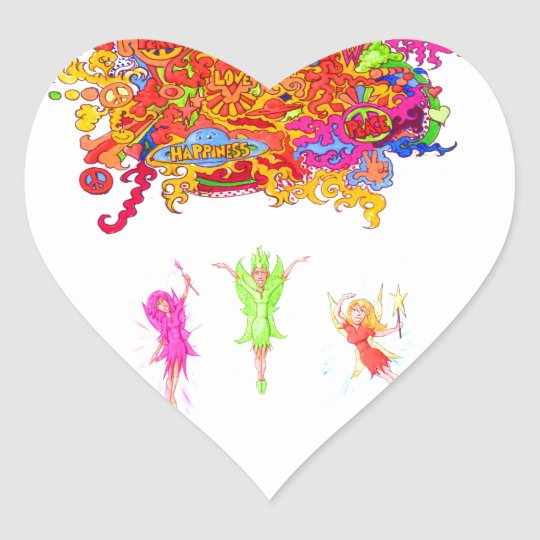 Peace, Love and Happiness Fairies. Heart Sticker
