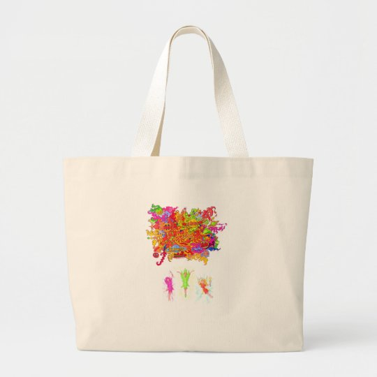 Peace, Love and Happiness Fairies. Large Tote Bag
