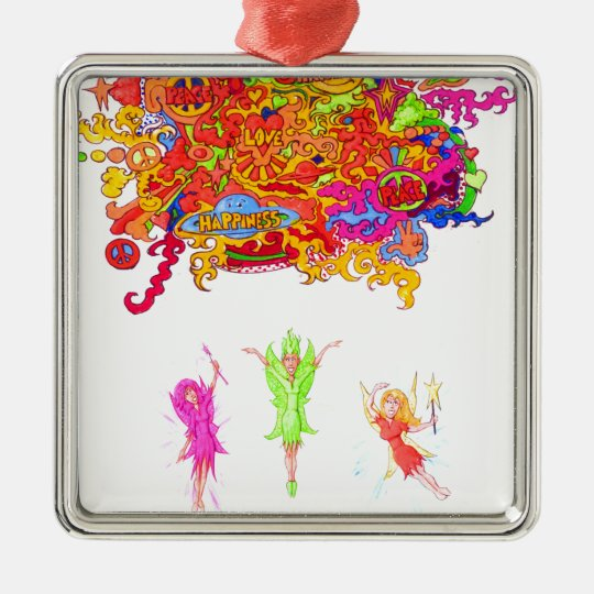 Peace, Love and Happiness Fairies. Metal Ornament