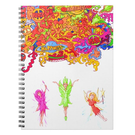 Peace, Love and Happiness Fairies. Notebook