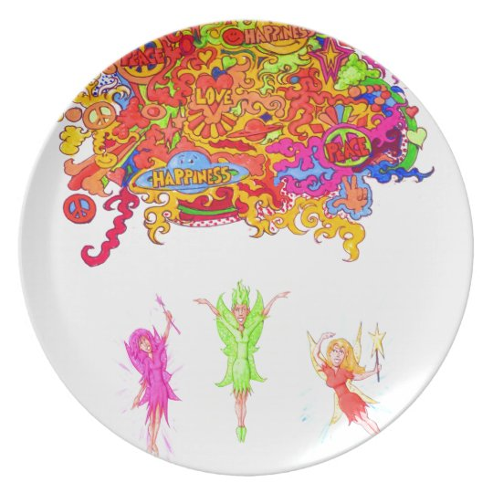 Peace, Love and Happiness Fairies. Plate