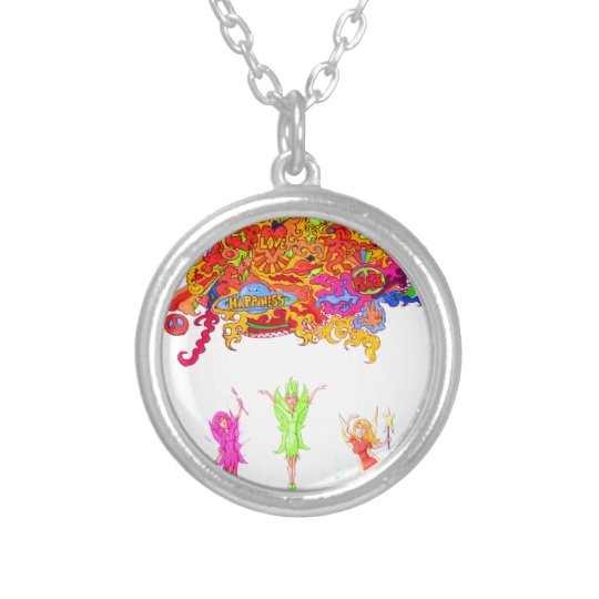 Peace, Love and Happiness Fairies. Silver Plated Necklace