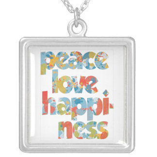 Peace, Love and Happiness Square Pendant Necklace