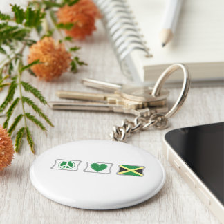 Peace Love and Jamaica Squares Key Ring