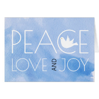 Peace love and joy blue watercolor Christmas photo Card